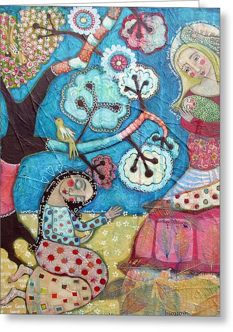 Devotional Art Mixed Media Greeting Cards - Mother Nature Baby Sweetpea and Mother to Be Greeting Card by Julie-ann Bowden