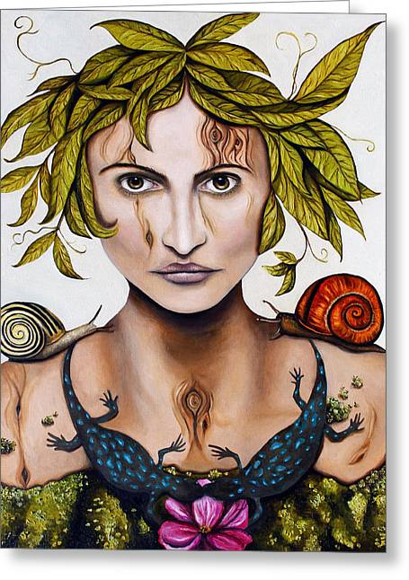 Mother Earth Greeting Cards - Mother Nature Deep Contrast Greeting Card by Leah Saulnier The Painting Maniac