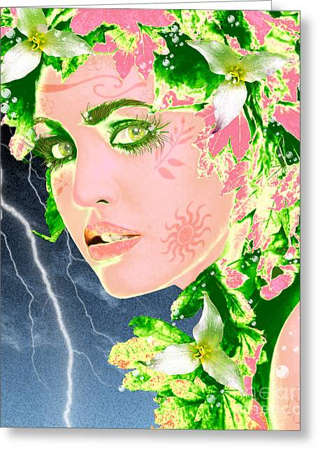 Lightning Photographs Greeting Cards - Mother Nature Greeting Card by Methune Hively