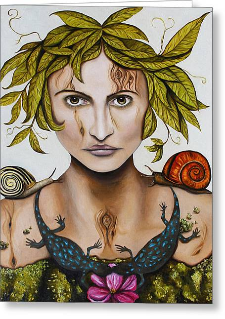 Salamander Greeting Cards - Mother Nature with contrast Greeting Card by Leah Saulnier The Painting Maniac