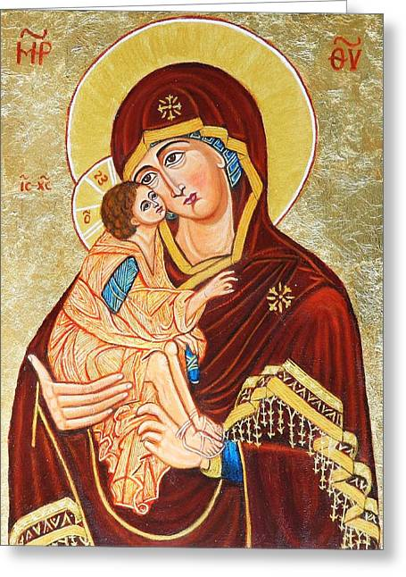 Mother Of God Aft Teophane The Greek Greeting Card by Ion vincent DAnu