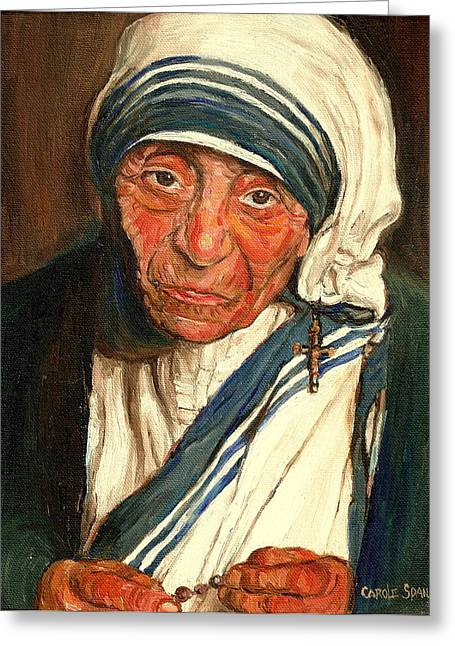 Portrait Of Mother Teresa Greeting Cards - Mother Teresa  Greeting Card by Carole Spandau