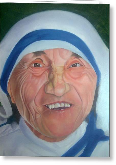 Mother Teresa Oil Painting Made By Ganesh Maurya Greeting Card by Ganesh Art Maurya