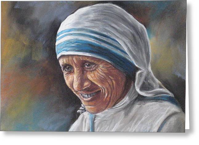 Portrait Of Mother Teresa Greeting Cards - Mother Teresa Greeting Card by Sam Pearson