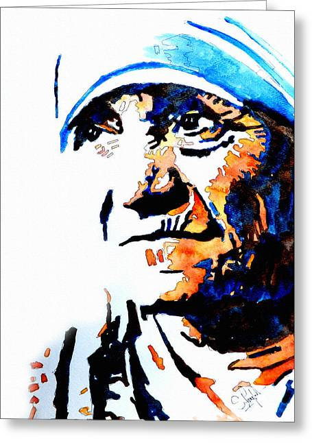 Colorful Photos Greeting Cards - Mother Teresa Greeting Card by Steven Ponsford