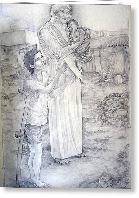 Patrick Rankin Greeting Cards - Mother Theresa Greeting Card by Patrick Rankin