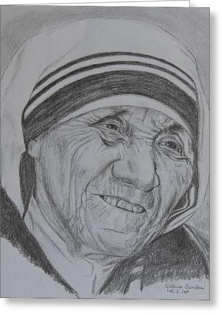 Mother Theresa Greeting Cards - Mother Theresa Greeting Card by Sabina Bonifazi