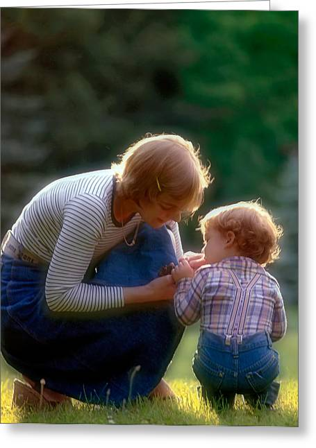Young Adult Women Greeting Cards - Mother with kid Greeting Card by Juan Carlos Ferro Duque