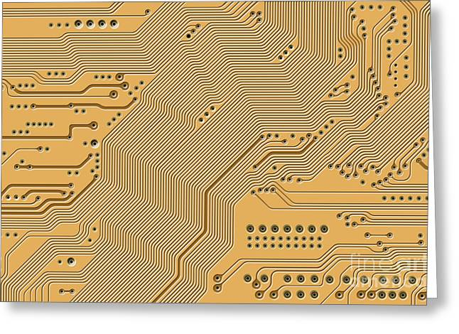 Component Digital Art Greeting Cards - Motherboard - Printed Circuit Greeting Card by Michal Boubin