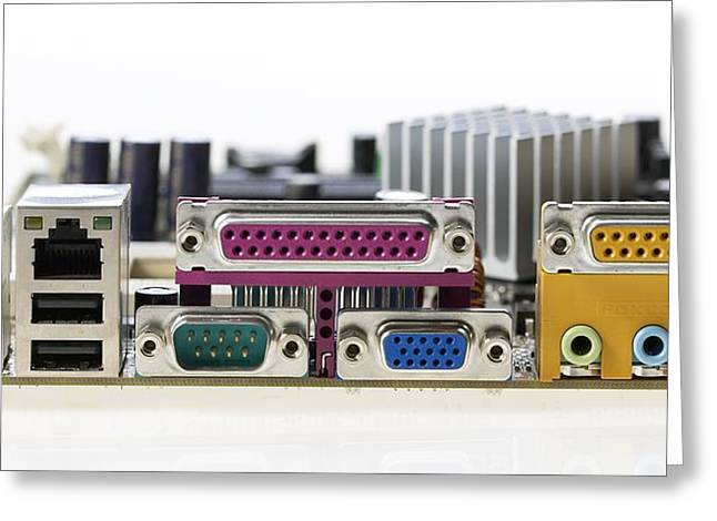 Motherboard Greeting Cards - Motherboard Connectors Greeting Card by Colin Cuthbert