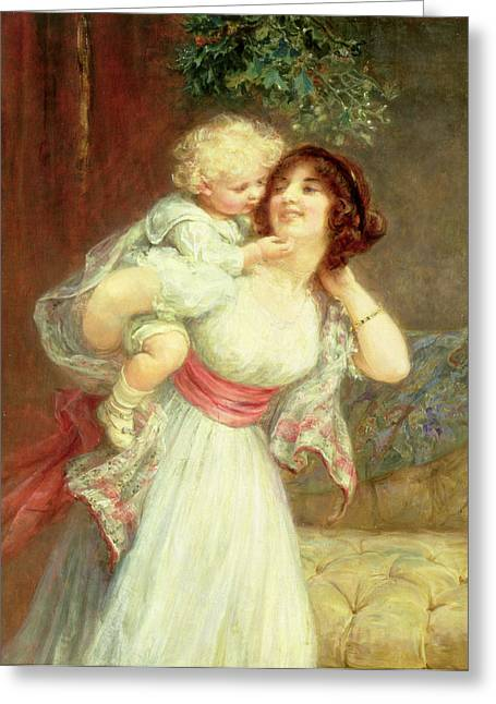 Mistletoe Greeting Cards - Mothers Darling Greeting Card by Frederick Morgan