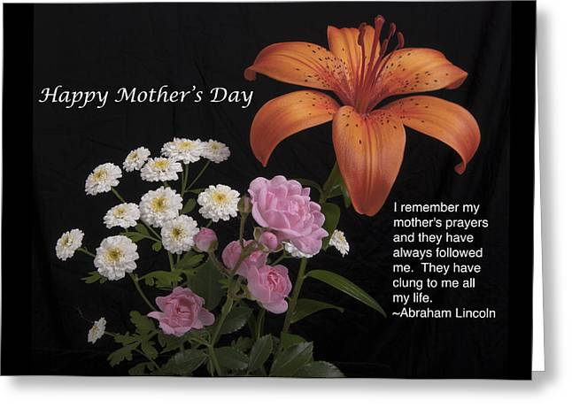 Babies Breath Greeting Cards - Mothers day card Day Lily and Rose Greeting Card by Michael Peychich