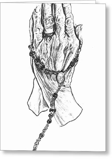 Rosary Drawings Greeting Cards - Mothers Hands Greeting Card by Paula Hammond