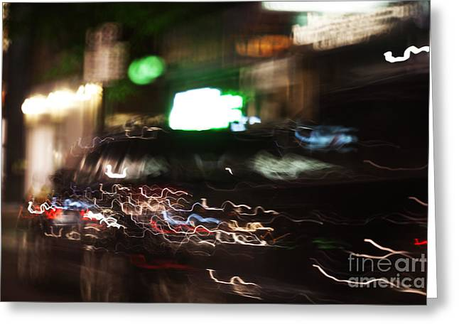 Fast Taxi Greeting Cards - Motion 6086 Greeting Card by Igor Kislev