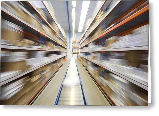Conveyor Belt Greeting Cards - Motion Blur Of A Warehouse Conveyor Belt Greeting Card by John Short