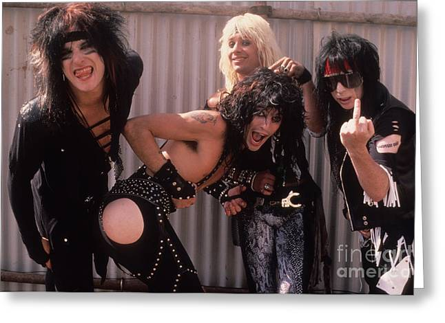 Vince Greeting Cards - Motley Crue Greeting Card by David Plastik