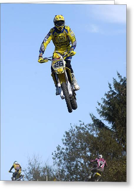Deutschland Greeting Cards - Motocross Rider jumping high Greeting Card by Matthias Hauser