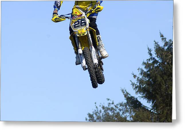 Motocross Rider jumping high Greeting Card by Matthias Hauser