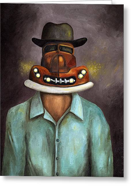 Auto-portrait Greeting Cards - Motor Head Greeting Card by Leah Saulnier The Painting Maniac