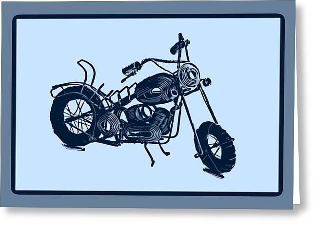 Metal Pyrography Greeting Cards - MotorBike 1a Greeting Card by Mauro Celotti
