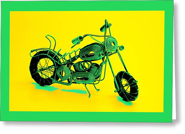 Flower Still Life Pyrography Greeting Cards - MotorBike 1b Greeting Card by Mauro Celotti