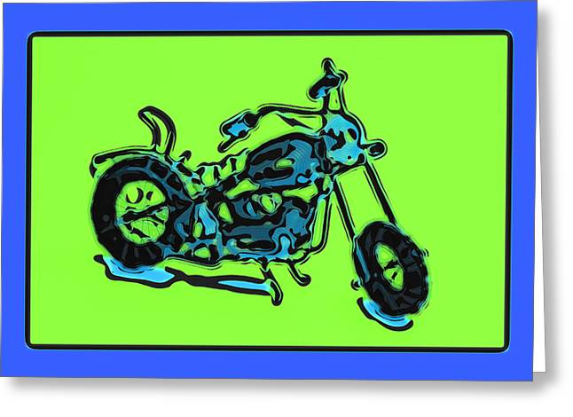 Metal Pyrography Greeting Cards - MotorBike 1c Greeting Card by Mauro Celotti