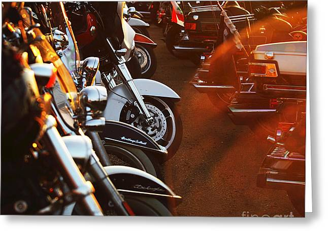 Bike Trip Greeting Cards - Motorbikes  Greeting Card by Anna Omelchenko