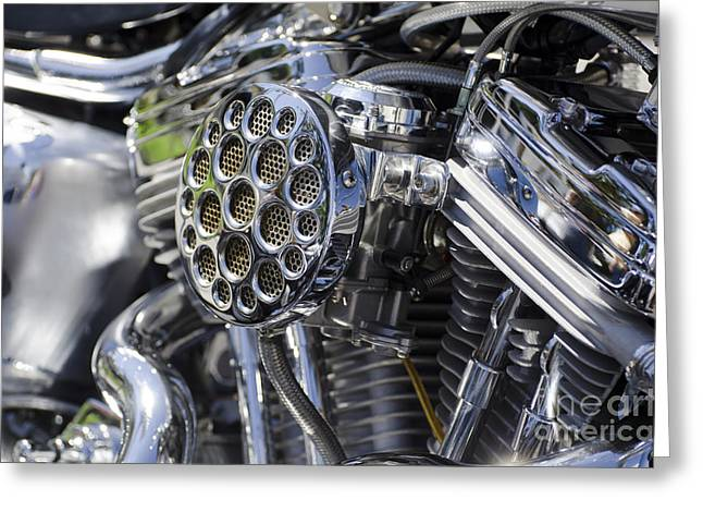 Camshaft Greeting Cards - Motorcycle engine Greeting Card by Mats Silvan