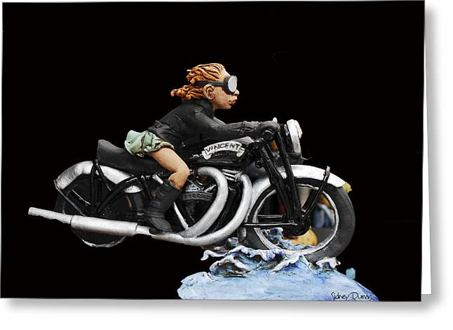Motorcycles Sculptures Greeting Cards - Motorcycle Girl Greeting Card by Sidney Dumas
