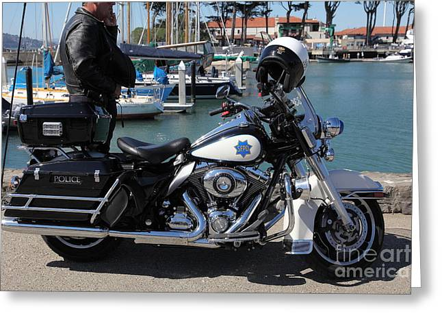 Police Officer Greeting Cards - Motorcycle Police At The San Francisco Marina - 5D18266 Greeting Card by Wingsdomain Art and Photography