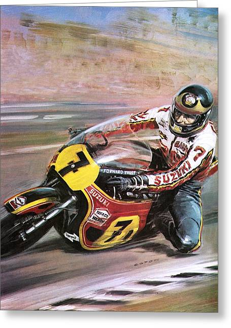 Cycles Paintings Greeting Cards - Motorcycle racing Greeting Card by Graham Coton