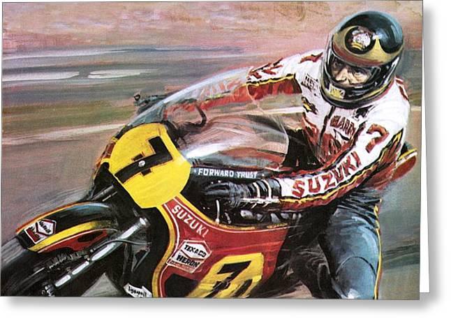 Motorcycle racing Greeting Card by Graham Coton
