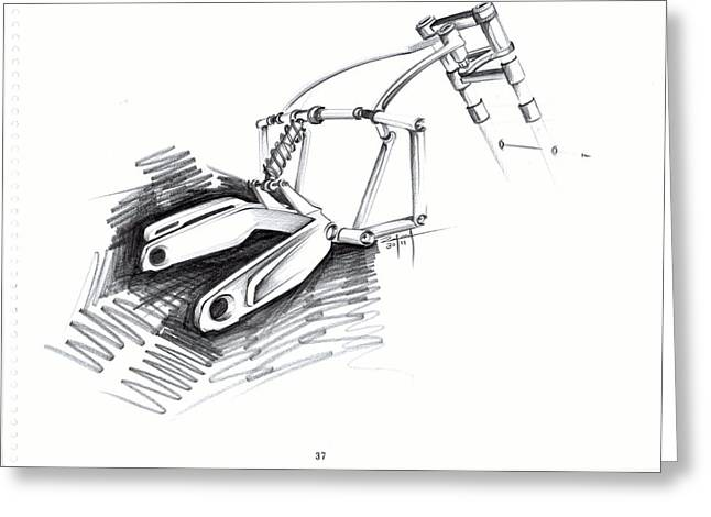 Trellis Drawings Greeting Cards - Motorcycle Sketch Art  Greeting Card by Rahul Rathore