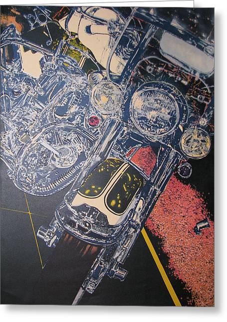 Photorealist Greeting Cards - Motorcycle Greeting Card by Thomas Blackwell