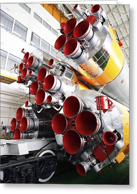 Rocket Greeting Cards - Motors Of A Soyuz Rocket Greeting Card by Ria Novosti