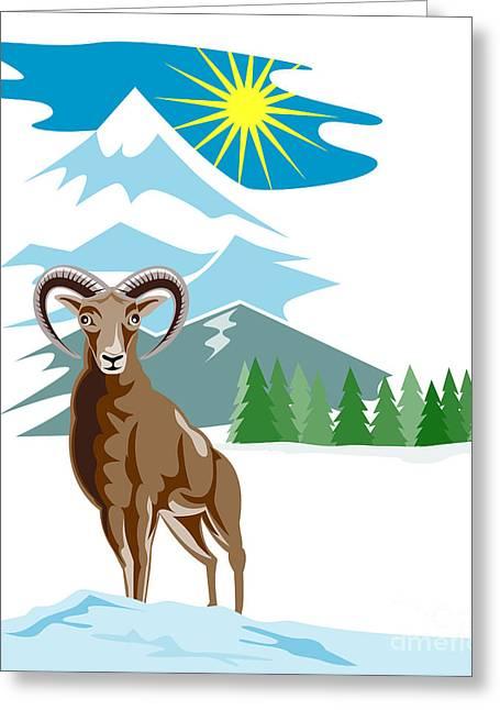 Mouflon Sheep Mountain Goat Greeting Card by Aloysius Patrimonio