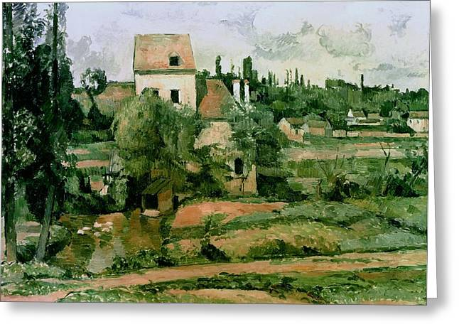 Farmhouse Greeting Cards - Moulin de la Couleuvre at Pontoise Greeting Card by Paul Cezanne