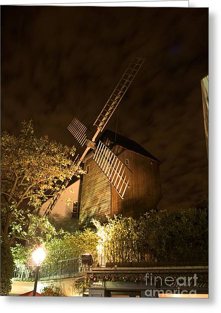 Rue Lepic Greeting Cards - Moulin du Radet by night Greeting Card by Fabrizio Ruggeri