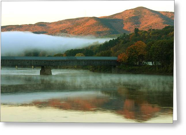 Connecticut Covered Bridge Greeting Cards - Mount Ascutney and Windsor Cornish Bridge Sunrise Fog Greeting Card by John Burk
