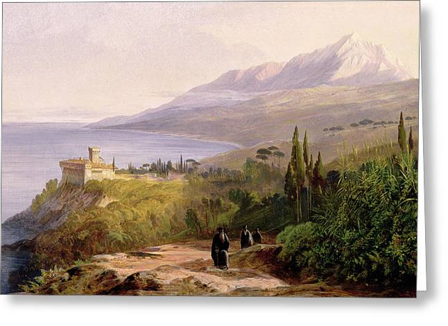 People Walking Greeting Cards - Mount Athos and the Monastery of Stavroniketes Greeting Card by Edward Lear