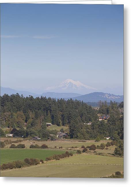Baker Island Greeting Cards - Mount Baker Looms Over Farms On A Sunny Greeting Card by Taylor S. Kennedy