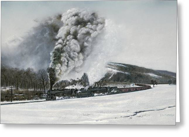 Trains Paintings Greeting Cards - Mount Carmel Eruption Greeting Card by David Mittner