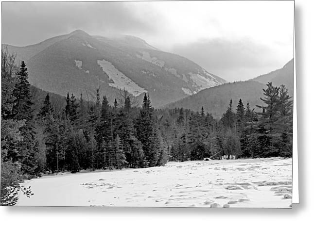 """high Peaks"" Greeting Cards - Mount Colden during winter from Marcy Dam in the Adirondack Mountains Greeting Card by Brendan Reals"