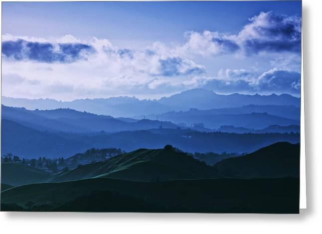 Walnut Tree Photograph Greeting Cards - Mount Diablo in Blue Mood Greeting Card by Laszlo Rekasi