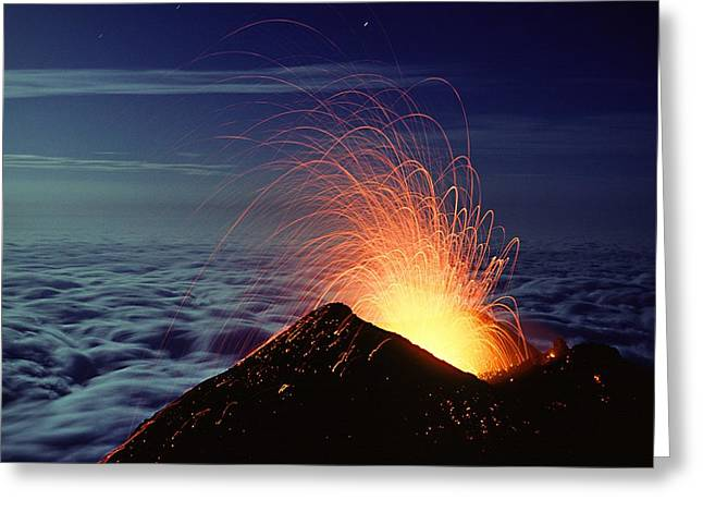 Moonlit Night Greeting Cards - Mount Etna Volcano Erupting Greeting Card by Dr Juerg Alean