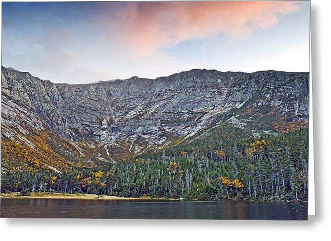 Chimney Greeting Cards - Mount Katahdin from Chimney Pond in Baxter State Park Maine Greeting Card by Brendan Reals