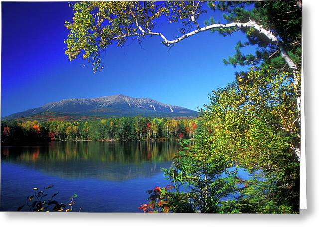 Baxter Park Greeting Cards - Mount Katahdin from Touge Pond Greeting Card by John Burk