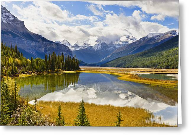 Beauty Creek Greeting Cards - Mount Kitchener Reflected In Pond Greeting Card by Yves Marcoux