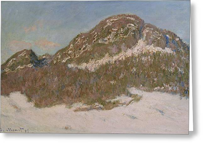 Wintry Greeting Cards - Mount Kolsaas in Sunlight Greeting Card by Claude Monet