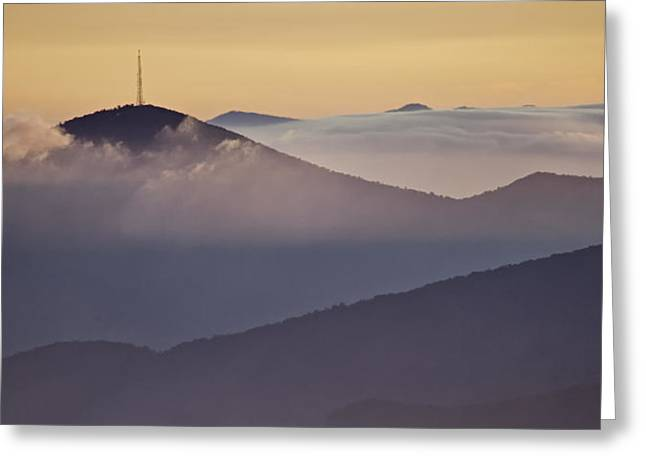 Best Sellers -  - Storm Prints Greeting Cards - Mount Pisgah in Morning Light - Blue Ridge Mountains Greeting Card by Rob Travis